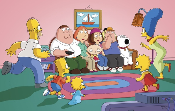 Картинка Симпсоны, Диван, Питер, Картина, Гомер, Мэгги, Maggie, Барт, Гриффины, Стьюи, Лиза, Крис, Family Guy, The …