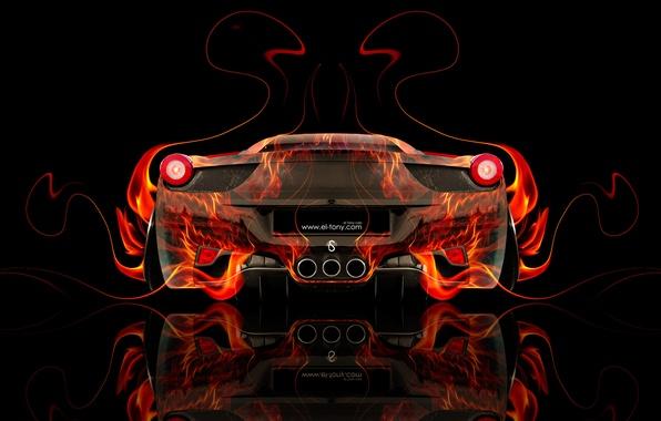 Картинка Цвет, Авто, Черный, Огонь, Машина, Феррари, Стиль, Оранжевый, Италия, Обои, Фон, Ferrari, Orange, Пламя, Car, …