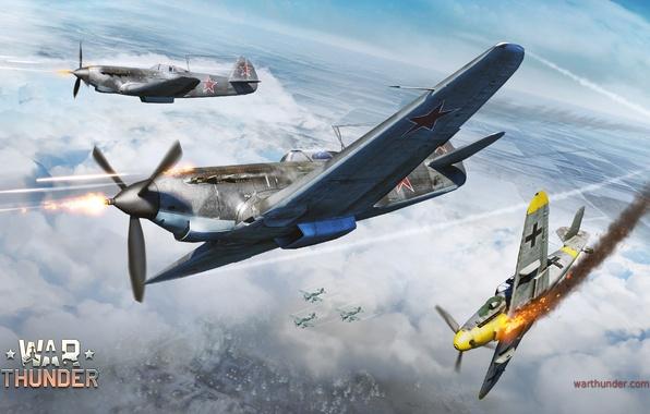 Картинка зима, небо, пламя, война, истребитель, стрельба, Арт, Messerschmitt, немецкий, Junkers, советский, поршневой, одномоторный, Bf.109G, Штука, …