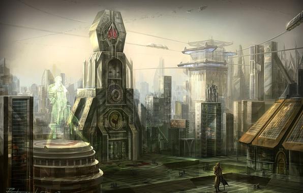 Картинка город, площадь, арт, статуя, peter lee, art, star craft