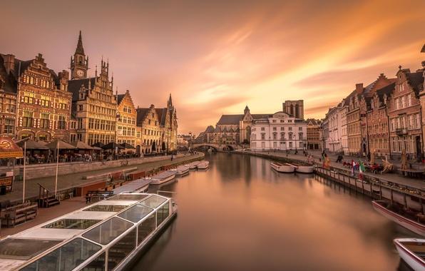 Картинка город, река, дома, лодки, Европа, Бельгия, Гент