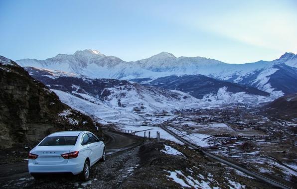 Картинка машина, снег, горы, Авто, Lada, Лада, Vesta, Веста