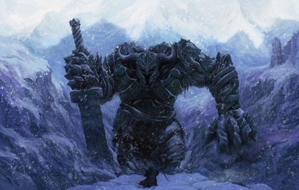 Картинка зима, снег, человек, меч, воин, великан