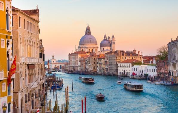Картинка здания, Италия, панорама, Венеция, собор, канал, Italy, Venice, Гранд-канал, Санта-Мария делла Салюте, Grand Canal, Большой …