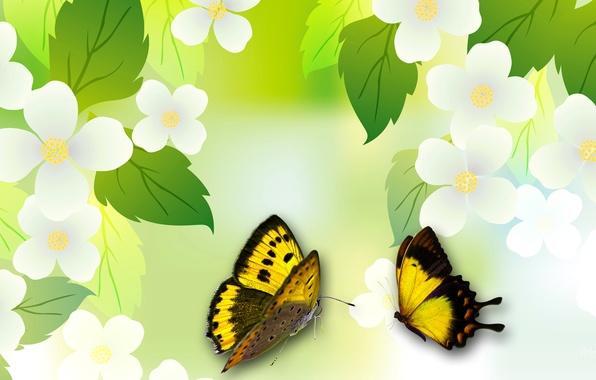 Картинка листья, цветы, коллаж, бабочка, весна