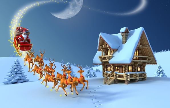 Картинка снег, луна, елка, новый год, рождество, подарки, moon, christmas, new year, дед мороз, олени, snow, …
