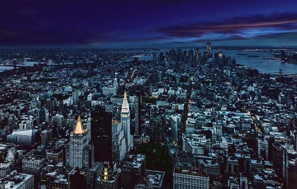 Картинка City, Night, Manhattan, Skyline, New-York, Architecture, Gotham, Cityscape