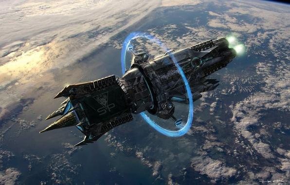 Картинка энергия, Планета, космический корабль