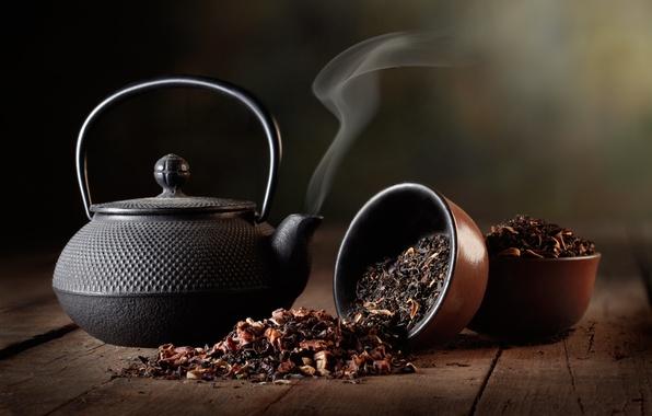 Картинка чай, черный, чайник, заварка, пиалы