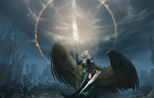 Картинка девушка, крылья, ангел, меч, арт, avacyn