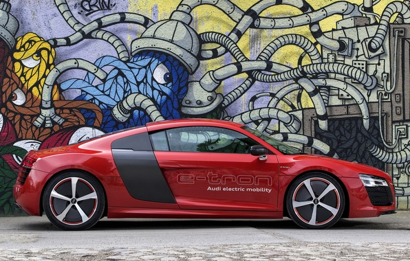 Картинка car, авто, Audi, Prototype, вид сбоку, wallpapers, e-Tron