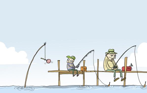 Картинка юмор, Wulffmorgenthaler, карикатура, приманка, рыбаки