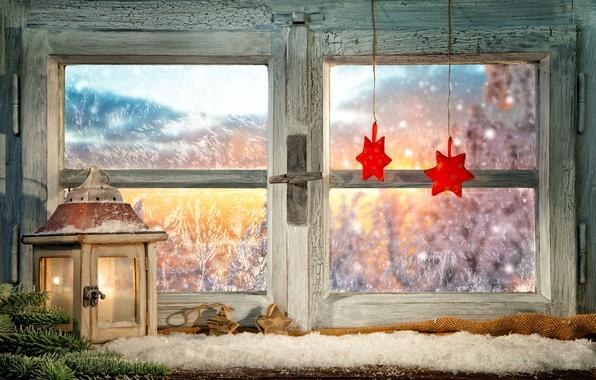 Картинка зима, стекло, ветки, огонь, праздник, узоры, игрушки, свеча, окно, мороз, фонарь, Новый год, звёздочки, новогодние
