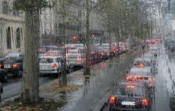Картинка осень, дождь, Париж