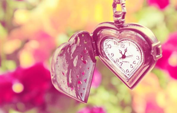 Картинка лето, цветы, сердце, часы, цепочка