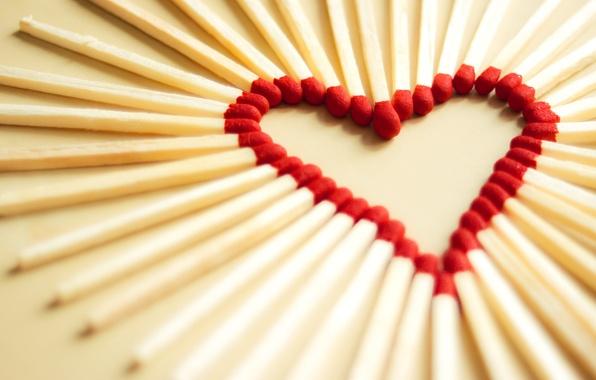 Картинка макро, любовь, радость, креатив, настроение, настроения, сердце, спички, фокус, сердца, сердечки, сердечко