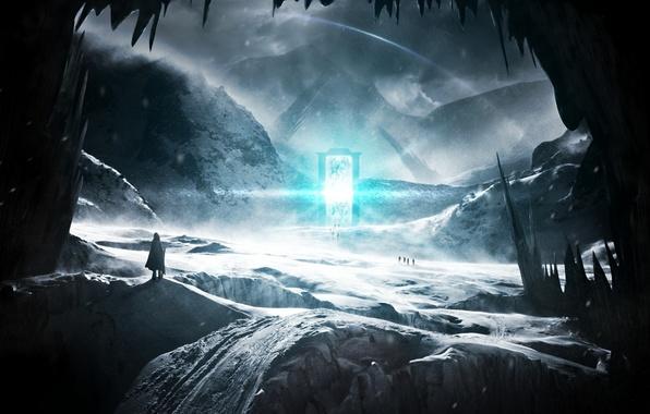 Фото обои холод, снег, пейзаж, горы, люди, скалы, двери, врата, путники, острые