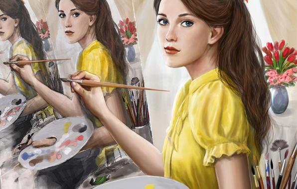 Картинка взгляд, девушка, краски, волосы, картина, арт, живопись, кисть, бантик, художница