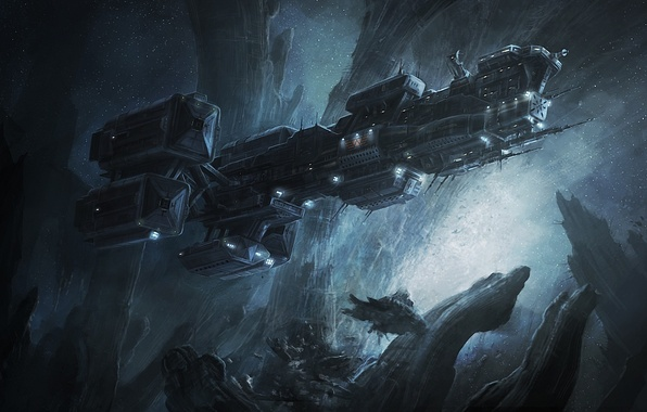 Картинка космос, камни, скалы, корабль, арт, prometheus, radojavor