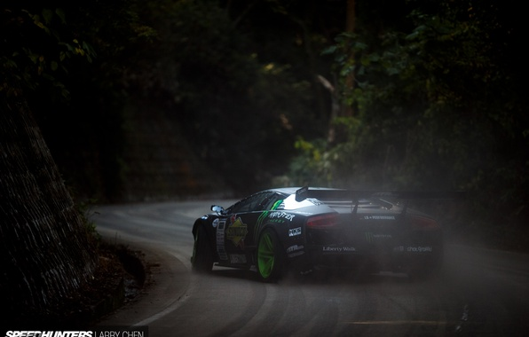 Картинка дым, скорость, пыль, занос, speedhunters, Liberty Walk, Lamborghini Murciélago, Drift Machine