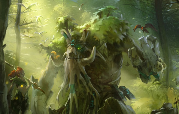 Картинка green, forest, tree, valve, dota 2, enchantress, treant protector