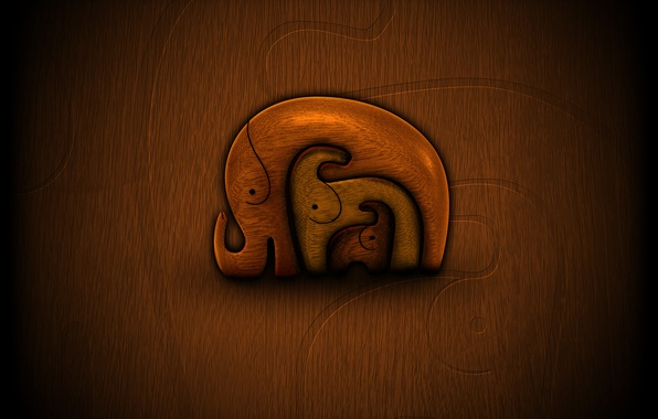 Картинка дерево, малыши, слоны, мама