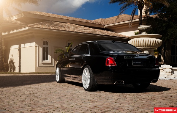 Картинка пальма, Rolls Royce, Ghost, Vossen Wheels