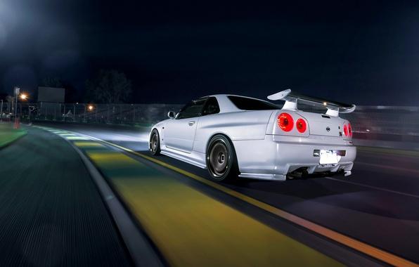 Картинка Dark, Nissan, Car, Race, Speed, White, Skyline, R34, Track, Rear, Nigth