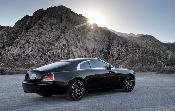 Картинка солнце, лучи, черный, Rolls-Royce, автомобиль, роллс-ройс, Wraith, Black Badge