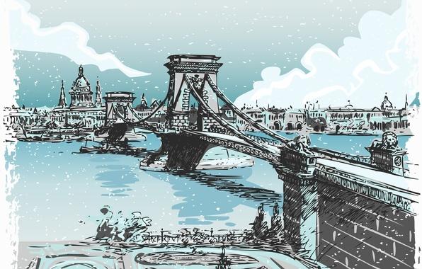 Картинка мост, город, река, лондон, живопись