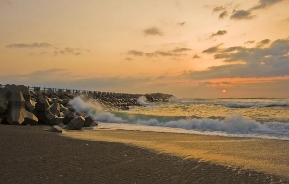 Картинка Закат, Солнце, Песок, Море, Причал, Волны, Берег, Misawa
