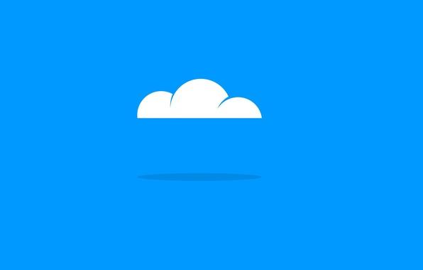 Картинка белое, голубое, тень, минимализм, Облако, minimalism, Cloud