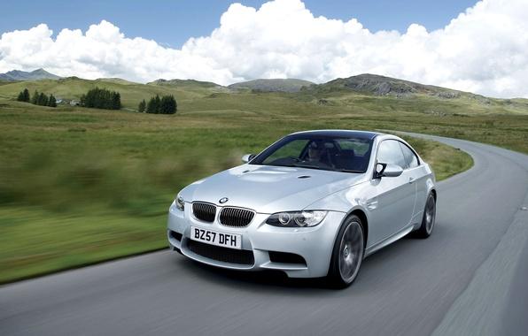 Картинка Авто, Дорога, BMW, Машина, Серый, БМВ, Капот, Фары, Coupe, Передок