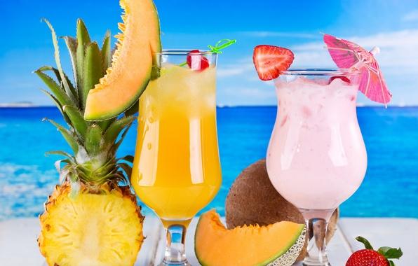 Картинка море, клубника, коктейль, фрукты, ананас, fresh, drink, cocktail, fruits, tropical