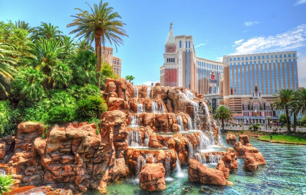 Картинка пальмы, hdr, Лас-Вегас, USA, США, водопады, Невада, Las Vegas, Nevada, Venetian Hotel