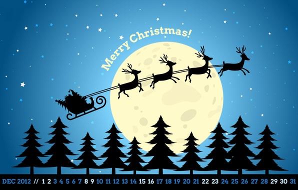 Картинка звезды, ночь, луна, елки, новый год, рождество, new year, сани, олени, санта, календарь, декабрь, merry …