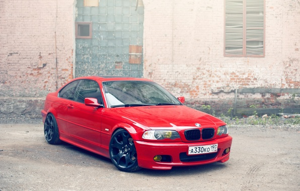 Картинка стена, BMW, красная, e46