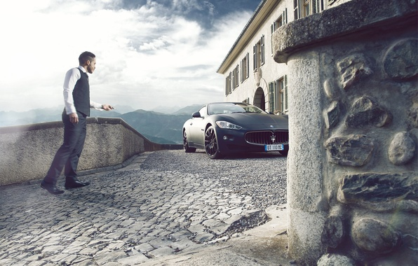 Картинка Maserati, GranTurismo, Black, Supercars, Man, People, Photoshot