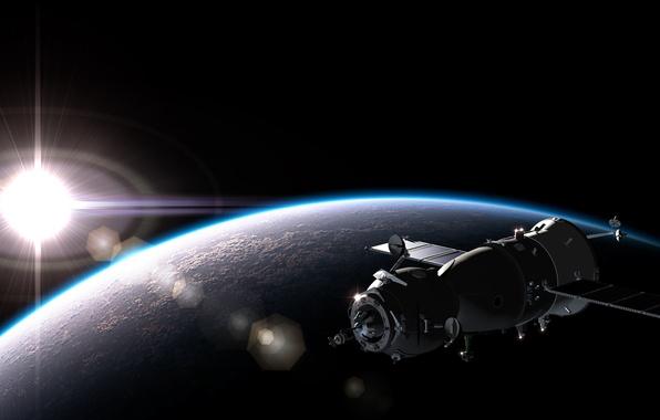 Картинка dark, light, spaceship, planet