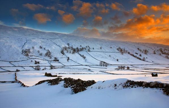 Картинка зима, поле, небо, облака, снег, деревья, закат, холмы, англия, зарево