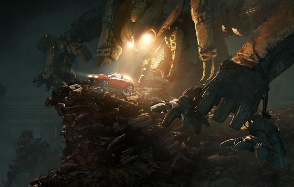 Картинка машина, ночь, металл, мусор, робот, гора, арт, nissan, фонари, красная, гигантский