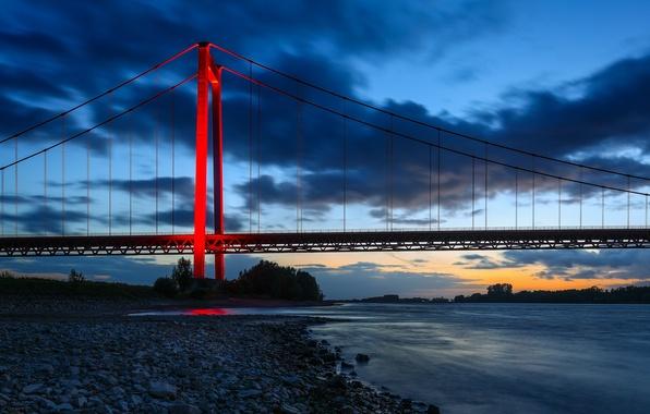 Картинка мост, река, Германия, Germany, река Рейн, Северный Рейн-Вестфалия, North Rhine-Westphalia, Эммерихский мост, Rhine River, Emmerich …