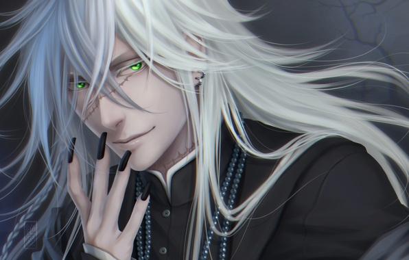 Картинка взгляд, улыбка, парень, серьга, art, Zetsuai89, шрамы, Black Butler, undertaker