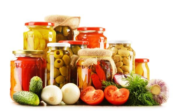 Картинка грибы, перец, овощи, помидоры, оливки, огурцы, чеснок, mushrooms, tomatoes, vegetables, olive, консервирование