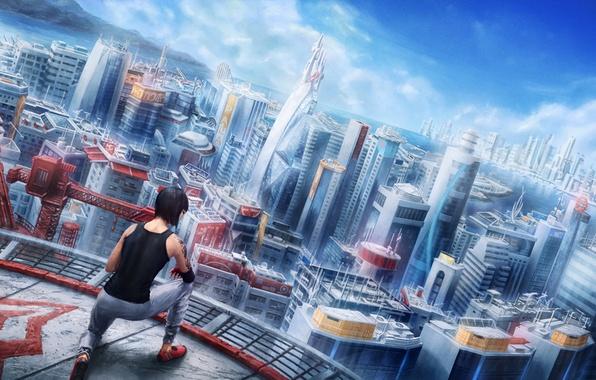 Картинка крыша, девушка, город, Mirror's Edge, art, faith, Electronic Arts, паркур, DICE, Mirror's Edge: Catalyst