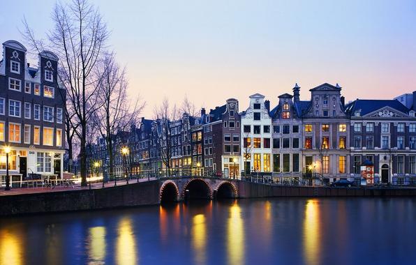 Картинка огни, река, дома, Нидерланды