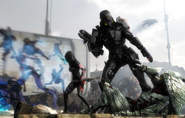 Картинка костюм, солдаты, броня, mass effect, bioware, collectors