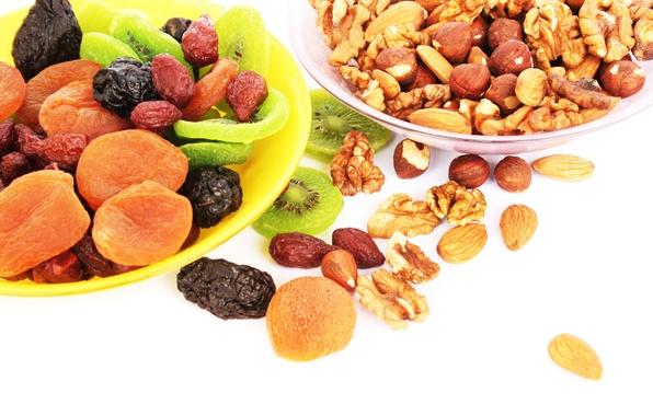 Картинка киви, орехи, fruit, nuts, курага, сухофрукты, чернослив