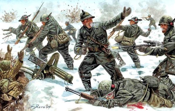 Картинка зима, снег, оружие, атака, рисунок, бой, арт, солдаты, обмундирование, 1939-1940гг, Советско-финская война