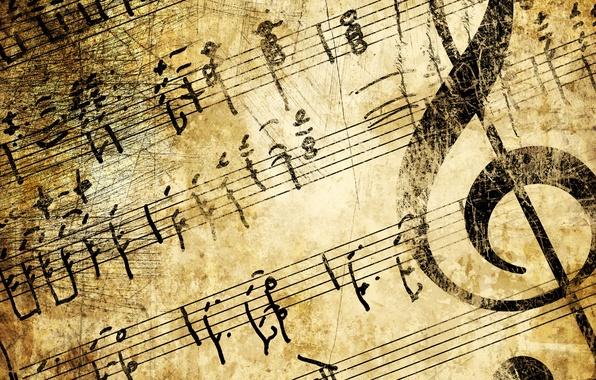 Картинка ретро, фон, ключ, сепия, инструмент, искусство, мелодия, бежевый, гранж, старые страницы бумаги